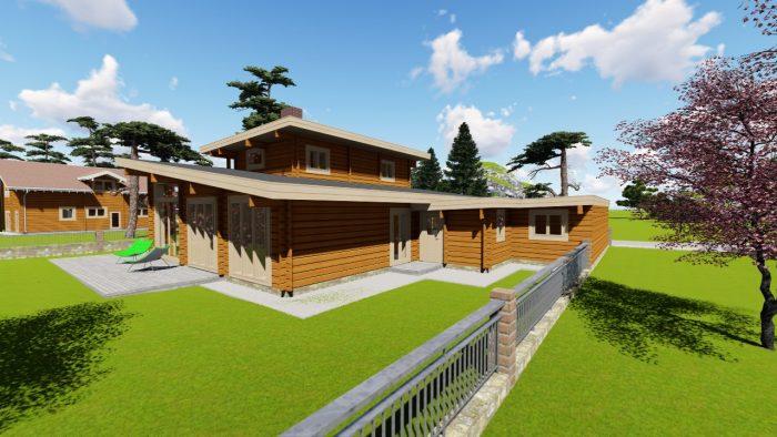 3D-Modell Blockhaus, Sicht auf Hinterausgang