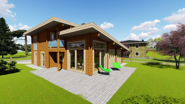 3D-Modell Blockhaus, Sicht auf Wohnküche