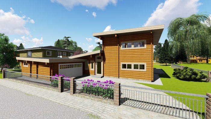 3D-Modell Blockhaus, Sicht auf Haupteingang